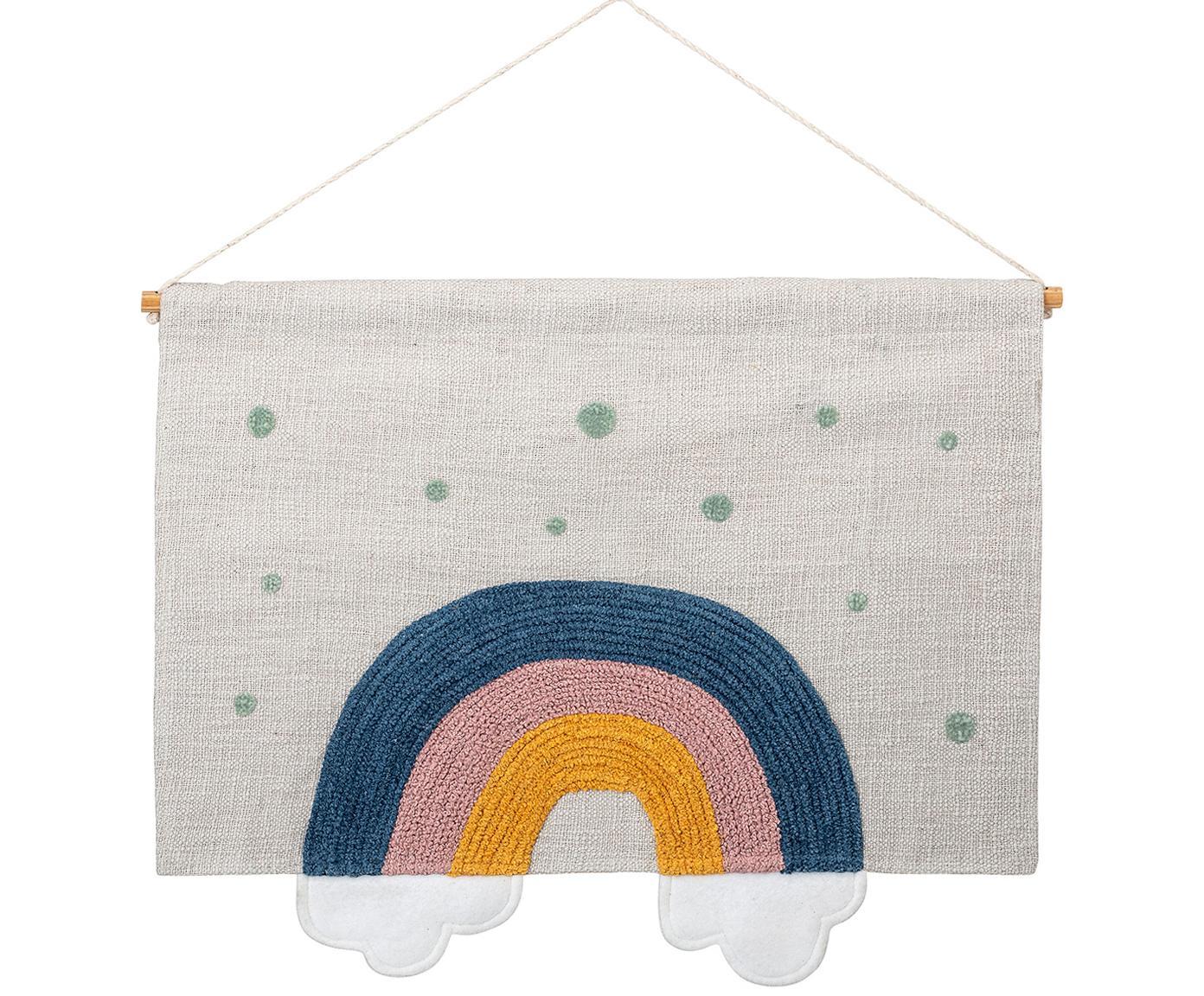 Duża dekoracja ścienna Rainbow, Bawełna, Biały, niebieski, żółty, zielony, S 60 x W 49 cm