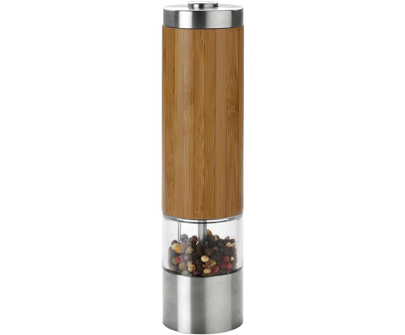 Elektrische Gewürzmühle Lonka aus Bambus und Edelstahl, Bambus, Edelstahl, Bambus, Transparent, Stahl, Ø 6 x H 22 cm