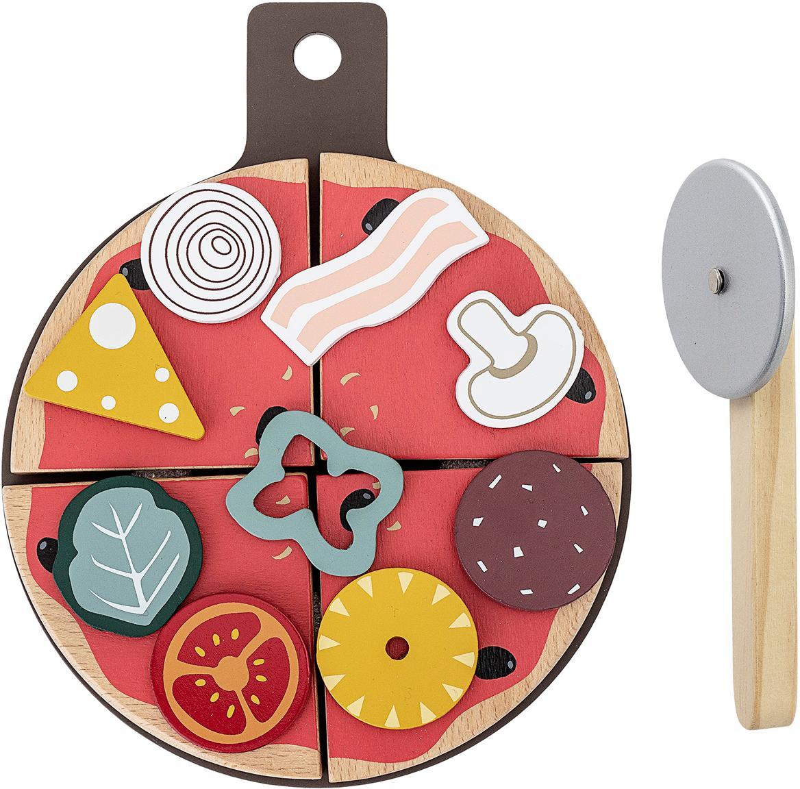 Speelset Pizza, 15-delig, Multiplex, berkenhout, Multicolour, 20 x 3 cm