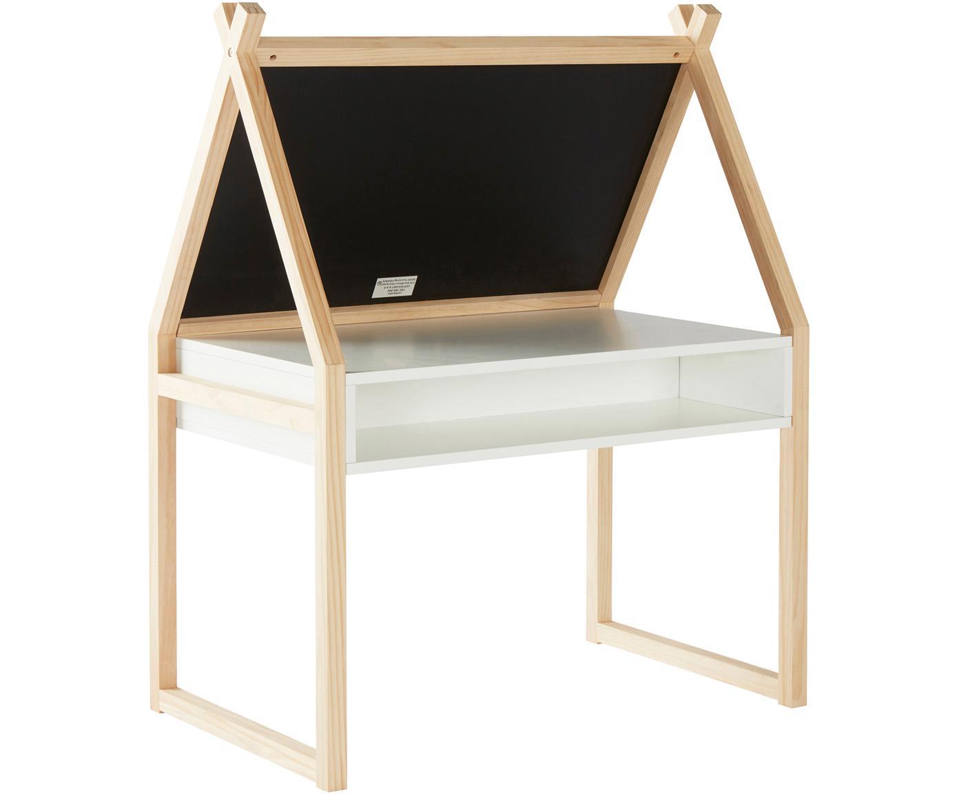Kindertafel Cadiz met krijtbord, Frame: grenenhout, Bruin, wit, zwart, 80 x 101 cm