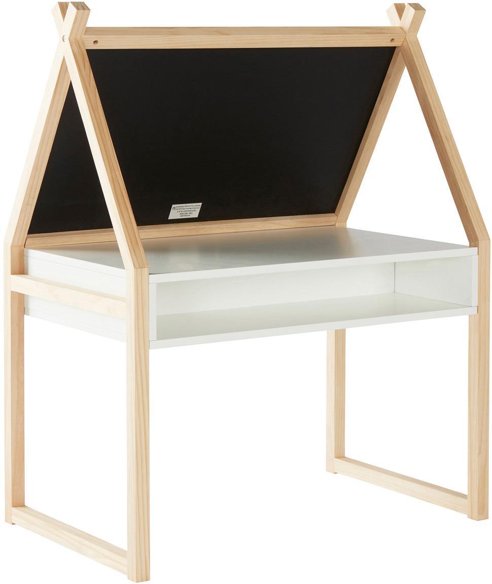 Kindertisch Cadiz mit Tafel, Rahmen: Kiefernholz, Braun,. Weiß, Schwarz, 80 x 101 cm