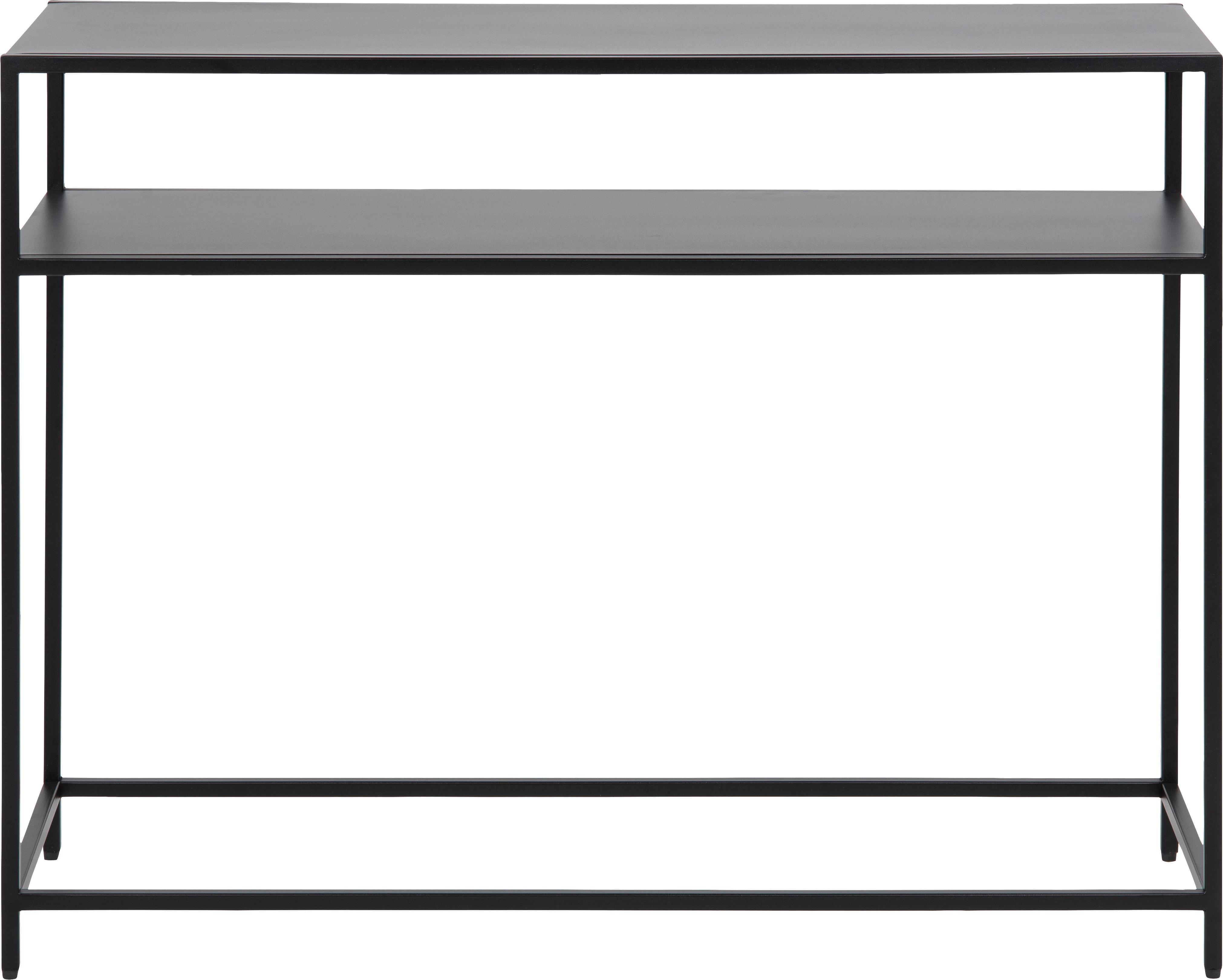 Metall-Konsole Newton in Schwarz, Metall, pulverbeschichtet, Schwarz, 100 x 79 cm