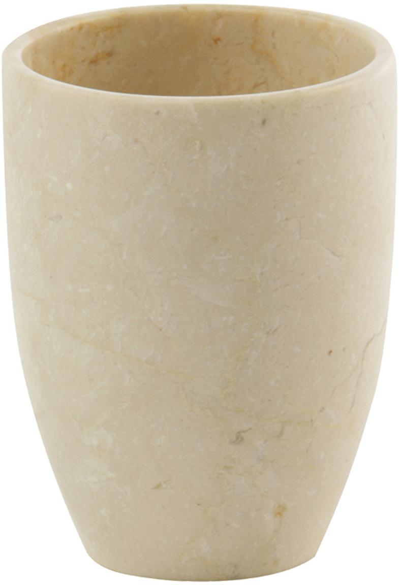 Kubek na szczoteczki z marmuru Luxor, Marmur, Beżowy, Ø 8 x W 10 cm