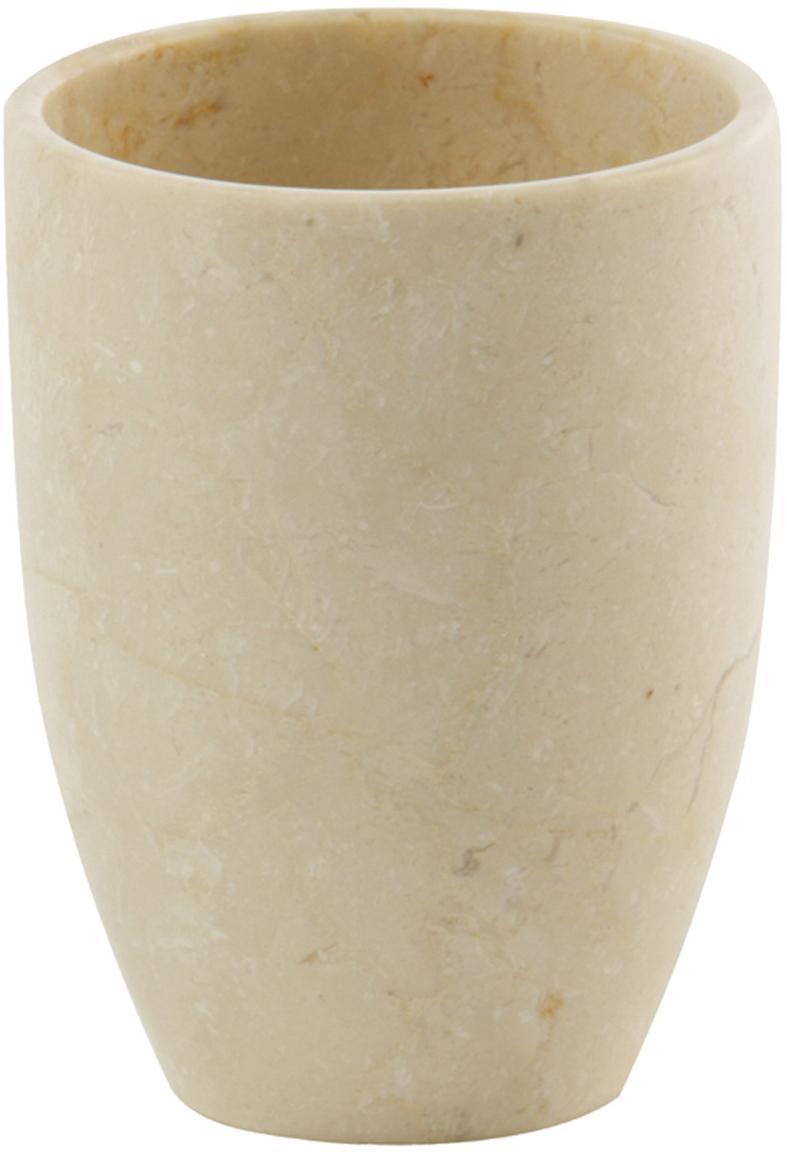 Porta spazzolini in marmo Luxor, Marmo, Beige, Ø 8 x Alt. 10 cm