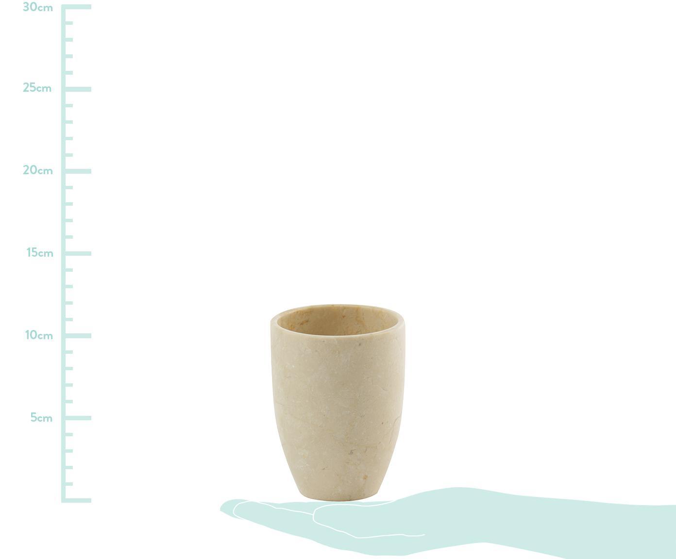 Marmor-Zahnputzbecher Luxor, Marmor, Beige, Ø 8 x H 10 cm