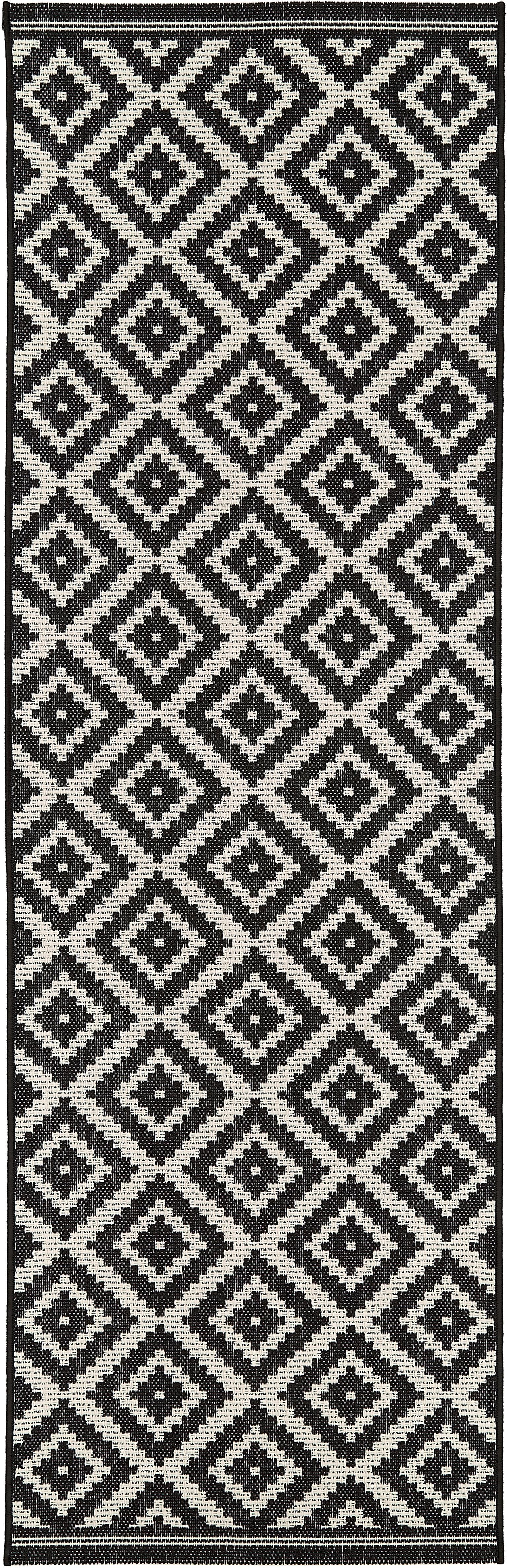 In- & outdoor loper met patroon Miami in zwart/wit, Bovenzijde: 100% polypropyleen, Onderzijde: polyester, Crèmewit, zwart, 80 x 250 cm