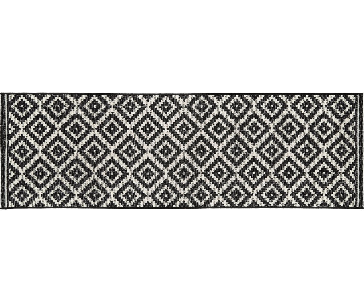 In- & outdoor loper met patroon Miami, Bovenzijde: polypropyleen, Onderzijde: polyester, Crèmewit, zwart, 80 x 250 cm