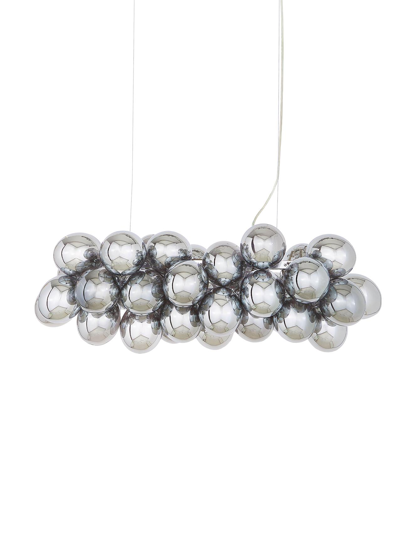 Lampada a sospensione con sfere di vetro Gross Bar, Cromo, Larg. 80 x Alt. 36 cm