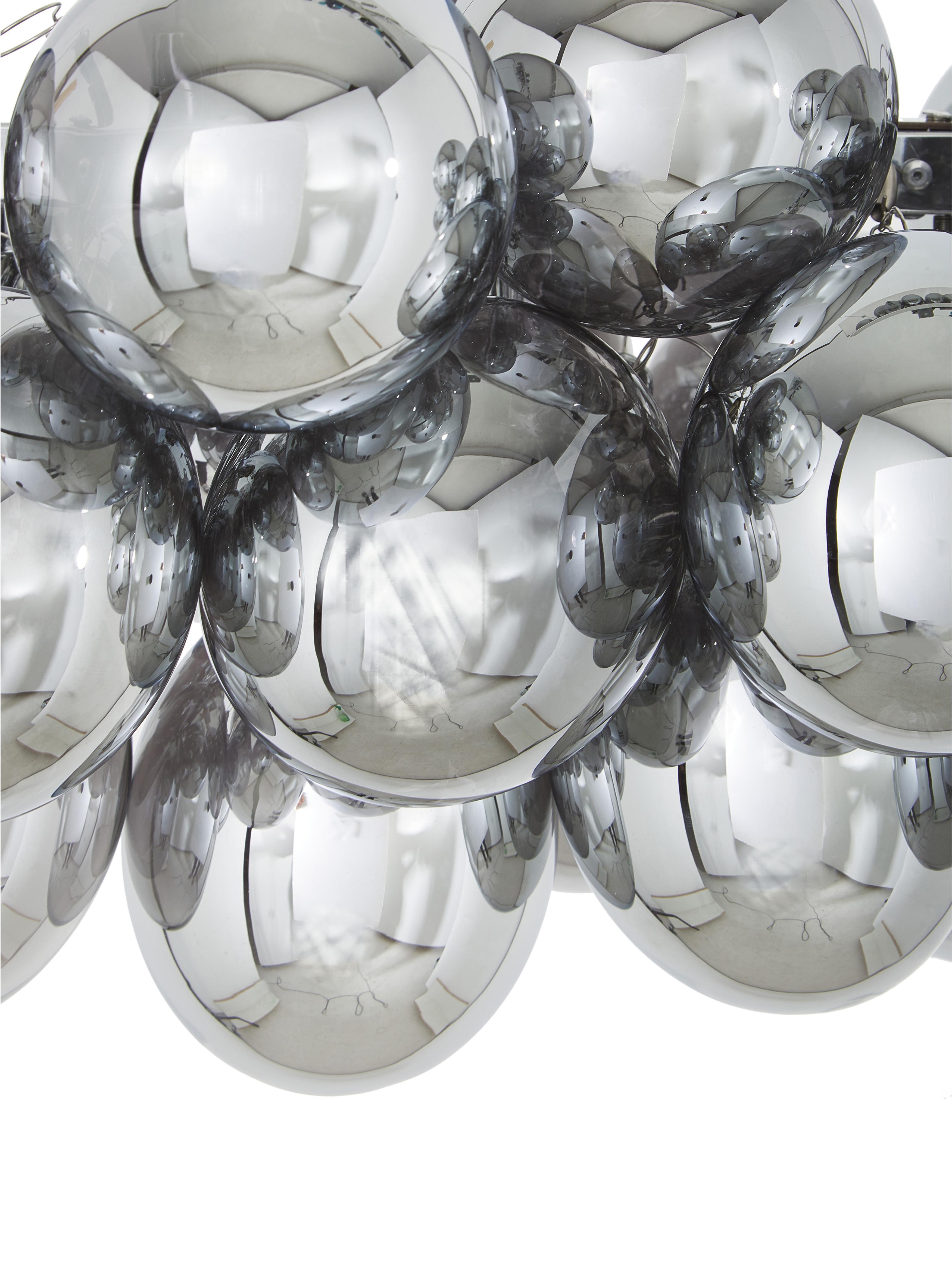 Große Glaskugel-Pendelleuchte Gross Bar, Chrom, 80 x 36 cm
