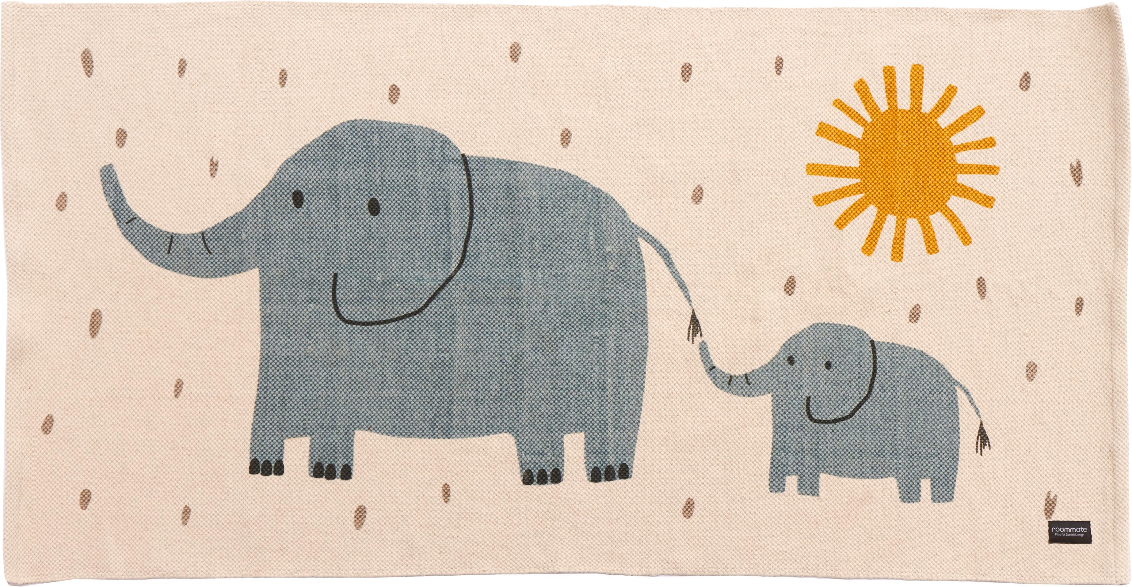 Tappeto in cotone con elefanti Elephant, Cotone, Bianco spezzato, Larg. 70 x Lung. 140 cm