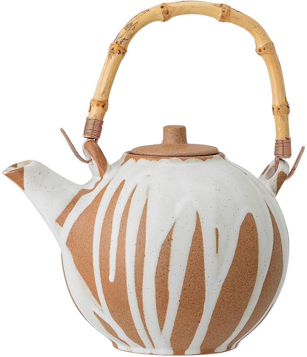 Handgemachte Teekanne Camellia mit Bambusgriff, Griff: Bambus, Sieb: Edelstahl, Weiß, Terracotta, 800 ml