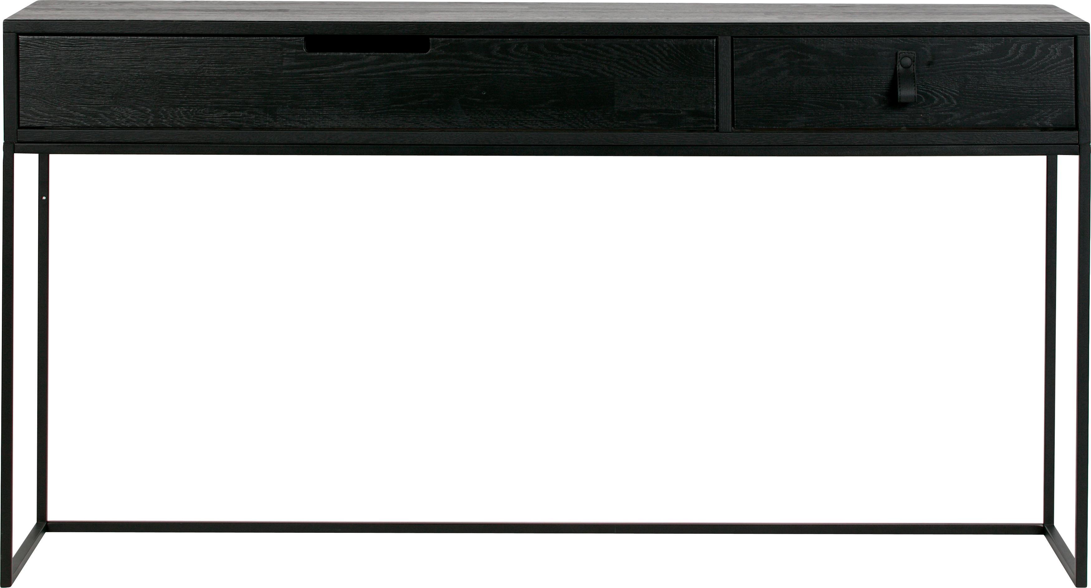 Consola Silas, con 2 cajones, Estructura: roble, cepillado y pintad, Estructura: metal pintado, Negro, An 140 x F 40 cm