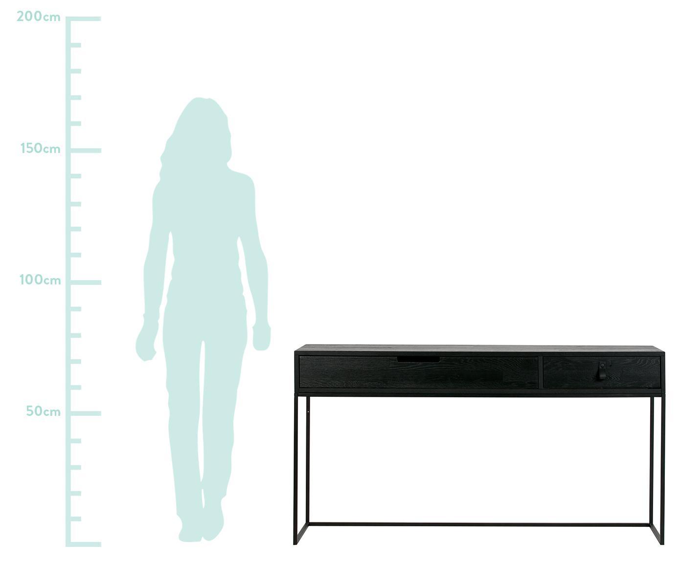 Konsole Silas mit 2 Schubladen, Korpus: Eichenholz, gebürstet und, Gestell: Metall, lackiert, Schwarz, B 140 x T 40 cm