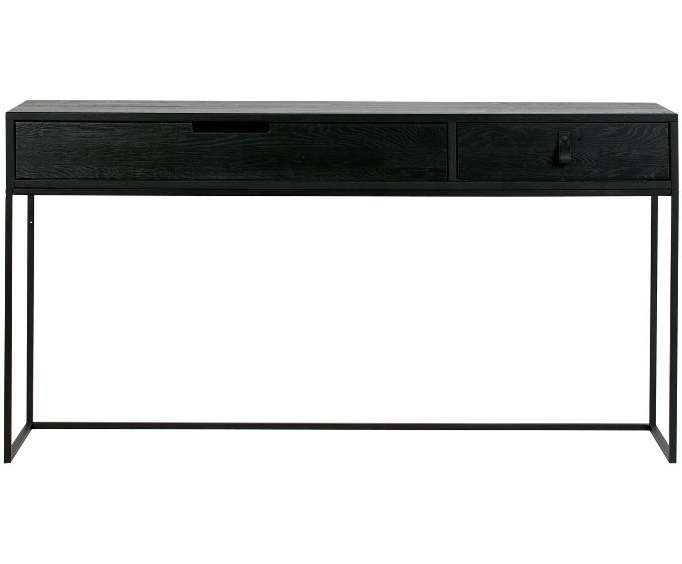 Consolle con 2 cassetti Silas, Struttura: metallo verniciato, Nero, Larg. 140 x Prof. 40 cm