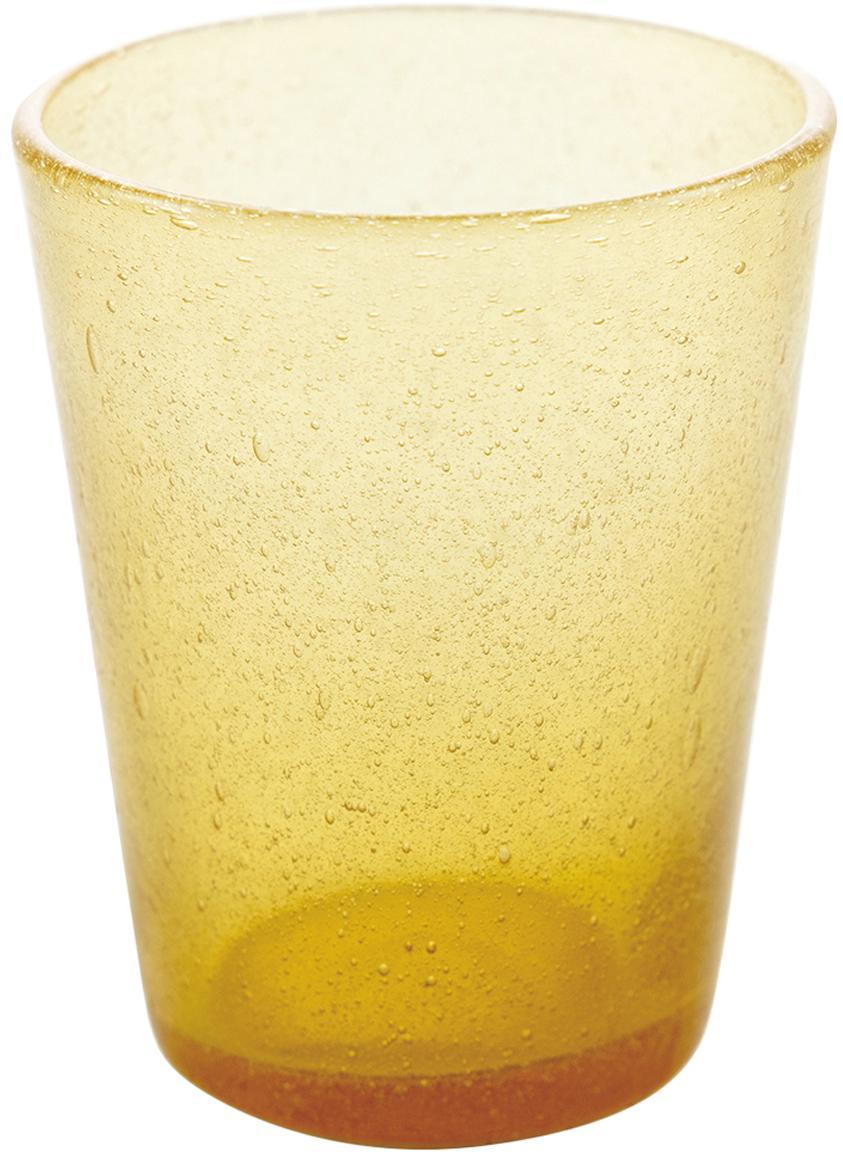 Mundgeblasene Wassergläser Cancun in Gelb mit Lufteinschlüssen, 6 Stück, Glas, mundgeblasen, Gelb, Ø 9 x H 10 cm