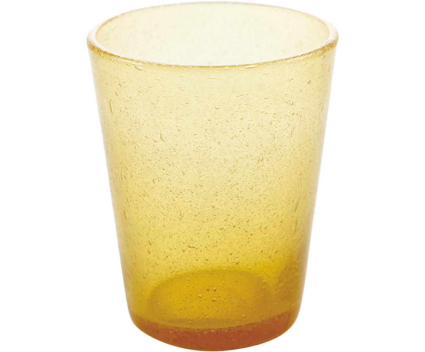Vasos de vidrio soplado Cancun, 6uds., Vidrio soplado artesanalmente, Amarillo, Ø 9 x Al 10 cm