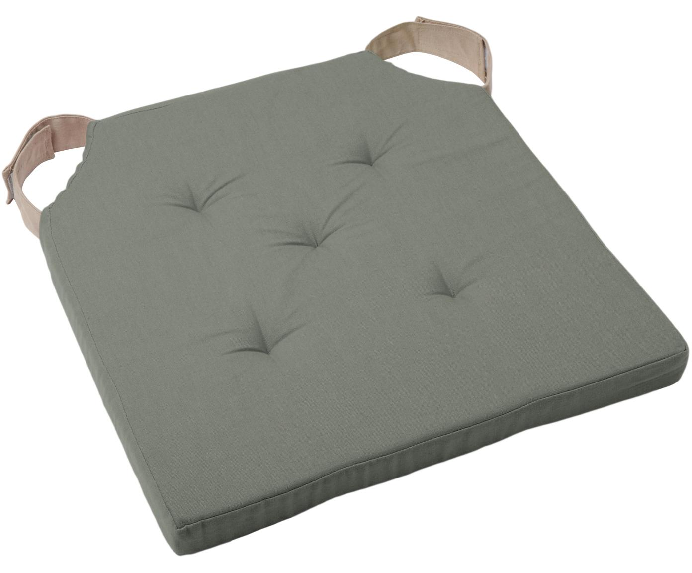 Sitzkissen Duo in Khaki/Beige, Bezug: 100% Baumwolle, Khaki, 40 x 40 cm