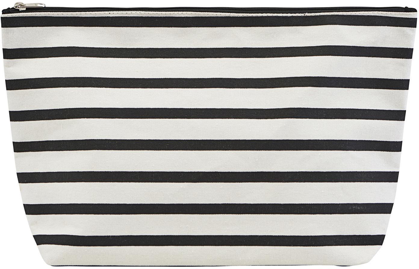Portatrucchi con cerniera Stripes, 38%cotone, 40%poliestere, 22%rayon, Nero, bianco, Larg. 32 x Alt. 20 cm