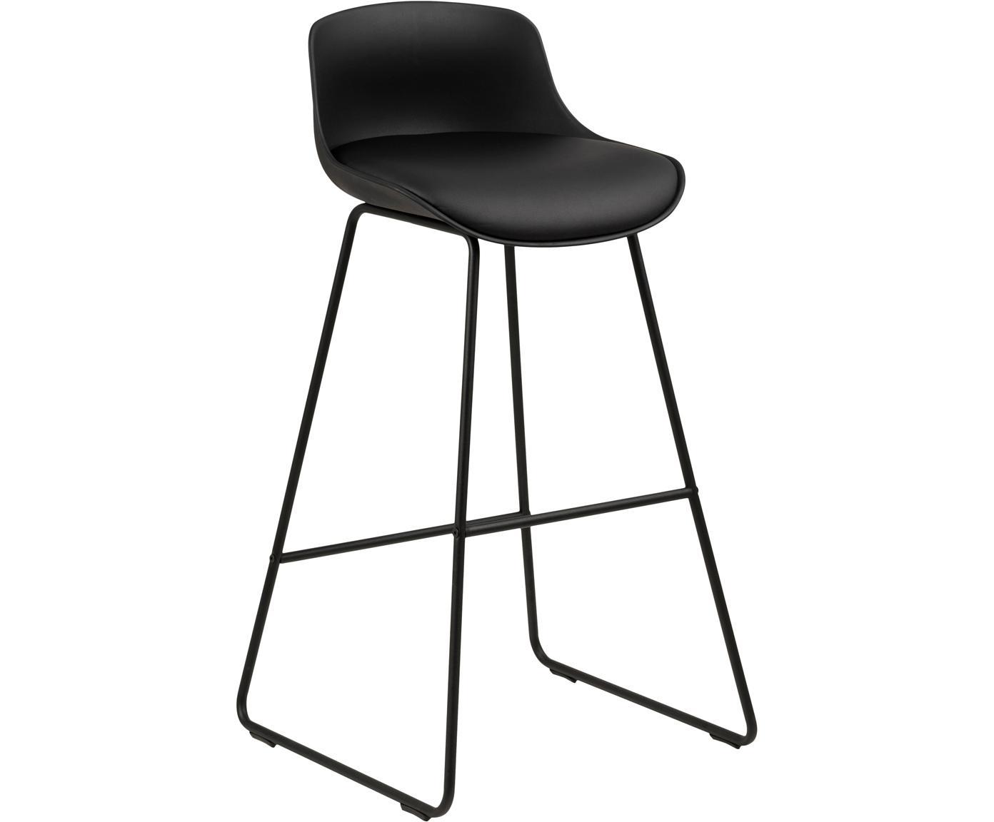 Sedia da bar in similpelle Tina 2 pz, Rivestimento: similpelle (poliuretano), Gambe: metallo verniciato a polv, Nero, Larg. 43 x Prof. 49 cm