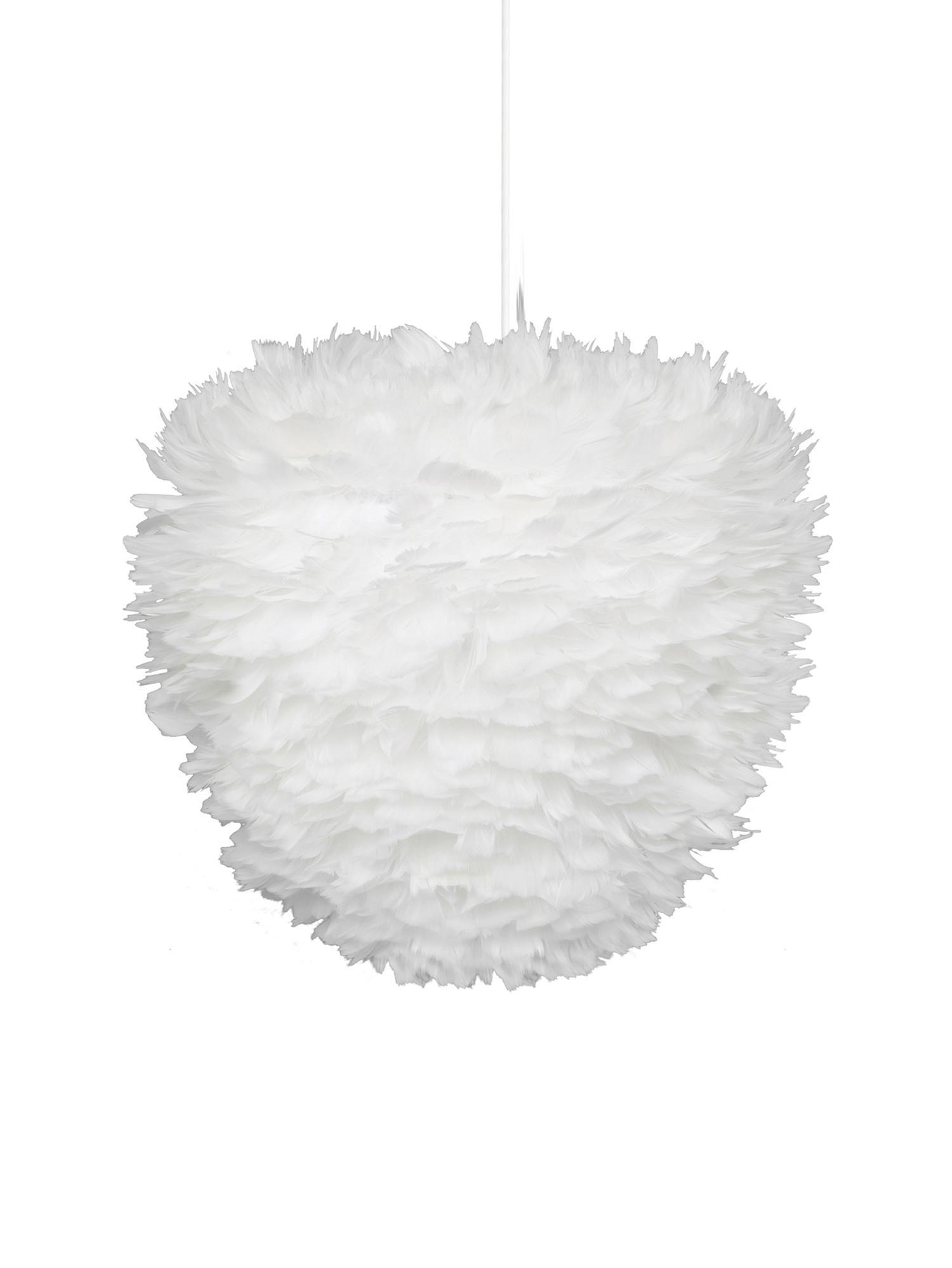 Lampada a sospensione in piume Eos Evia, Paralume: piume d'oca, tessuto, Bianco, Ø 40 x Alt. 39 cm