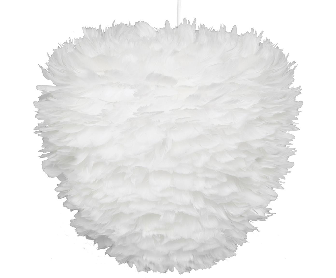 Pendelleuchte Eos Evia aus Federn, Lampenschirm: Gänsefedern, Textil, Baldachin: Kunststoff, Weiss, Ø 40 x H 39 cm