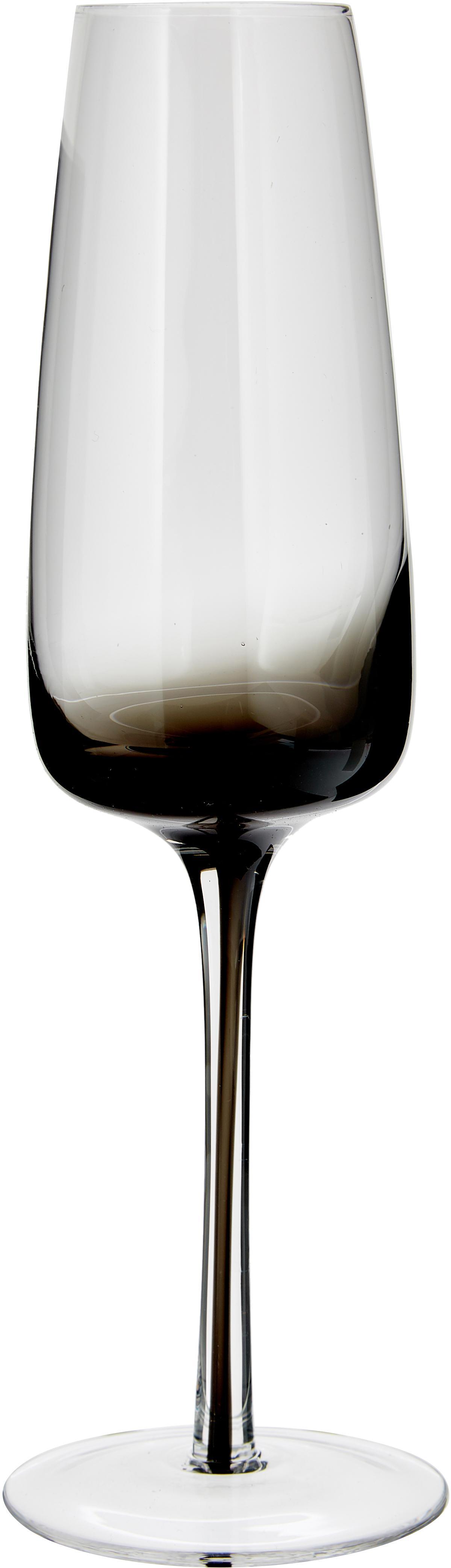 Kieliszek do szampana ze szkła dmuchanego Smoke, 4 szt., Szkło (sodowo-wapniowe), dmuchane, Transparentny, z szarym odcieniem, Ø 7 x 23 cm