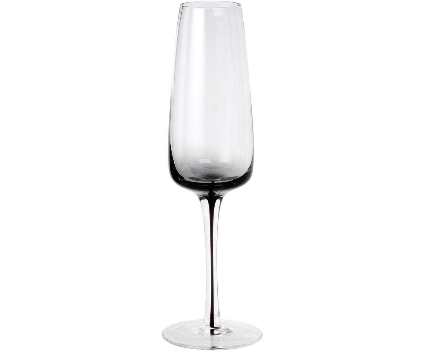 Copas flauta de champán de vidrio soplado Smoke, 4uds., Vidrio soplado, transparente, tonos gris, Ø 7 x Al 23 cm