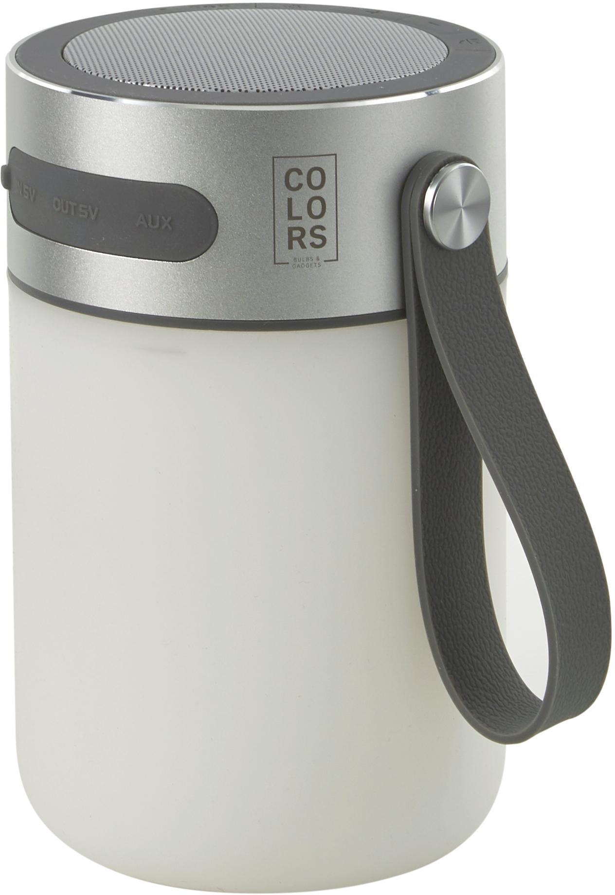 Mobiele outdoor LED lamp met luidspreker Sound Jar, Frame: metaal, Lampenkap: kunststof, Zilverkleurig, wit, Ø 9 x H 14 cm