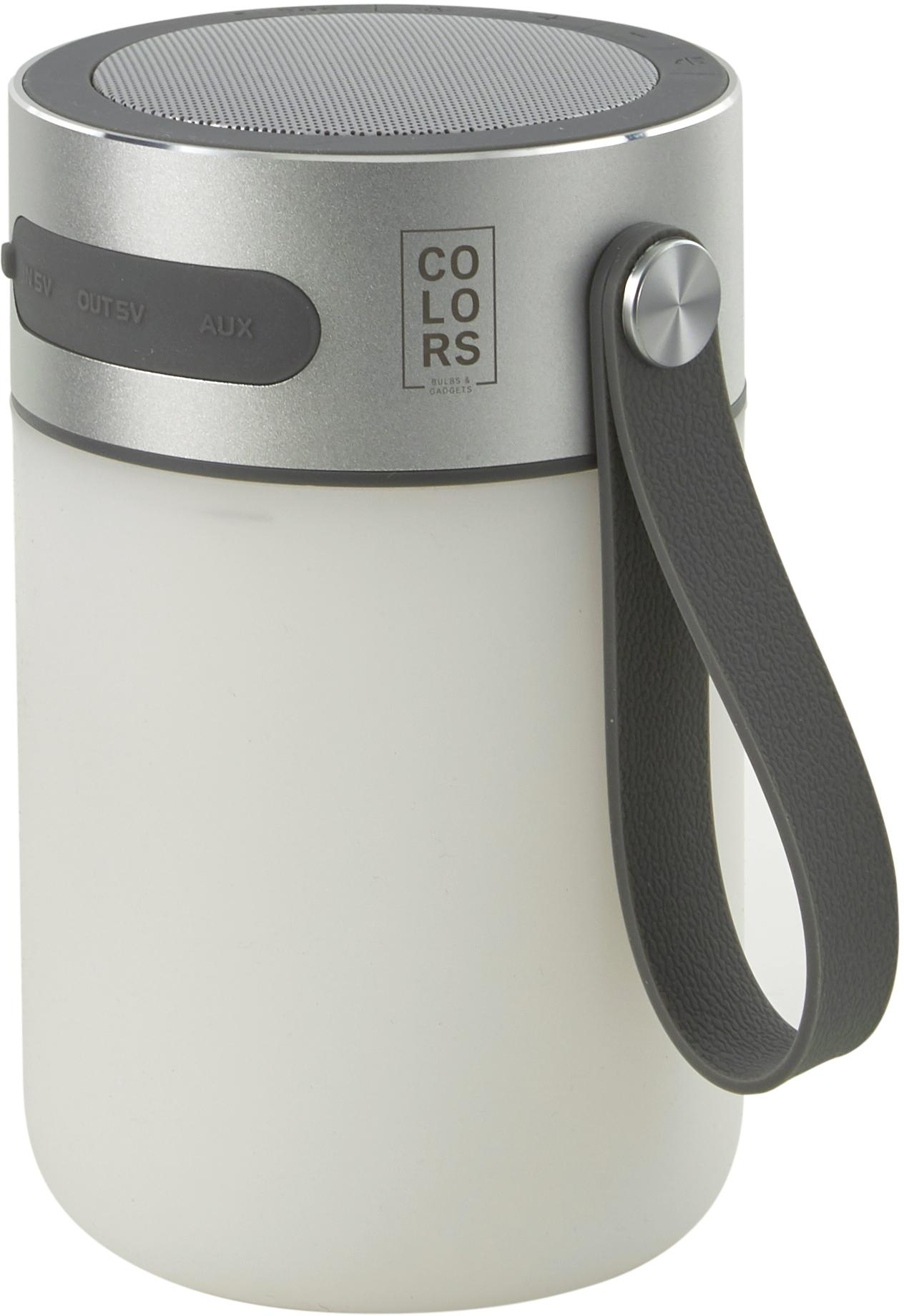 Mobile LED Aussenleuchte mit Lautsprecher Sound Jar, Gehäuse: Metall, Lampenschirm: Kunststoff, Silberfarben, Weiss, Ø 9 x H 14 cm