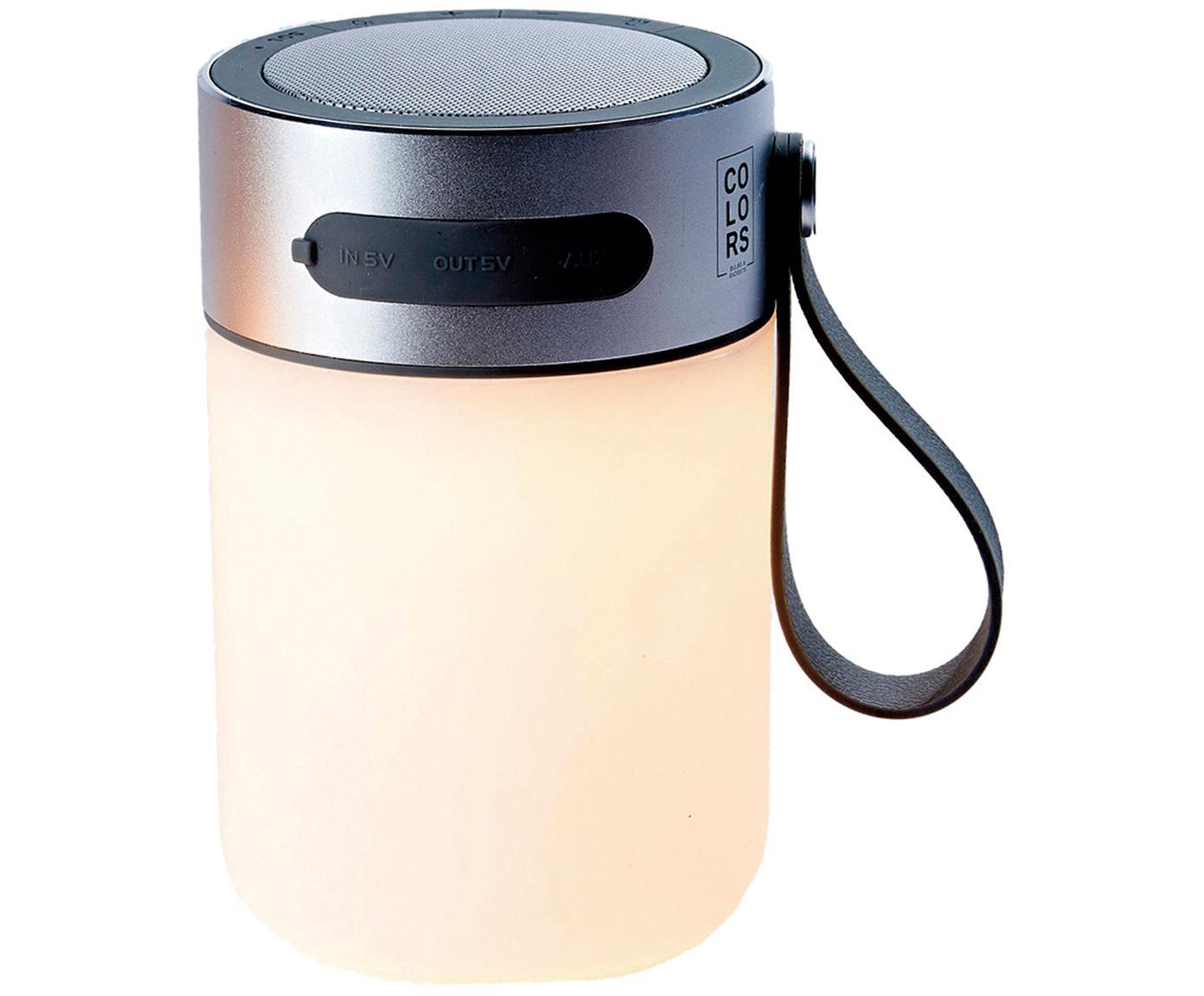Mobile LED Außenleuchte mit Lautsprecher Sound Jar, Gehäuse: Metall, Lampenschirm: Kunststoff, Silberfarben, Weiß, Ø 9 x H 14 cm