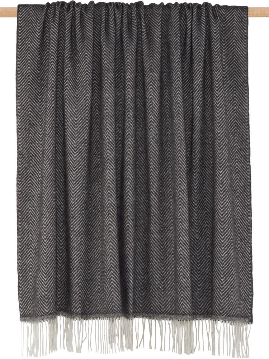 Woll-Plaid Aubrey mit feinem Zickzack-Muster, Anthrazit, Gebrochenes Weiß, 140 x 200 cm