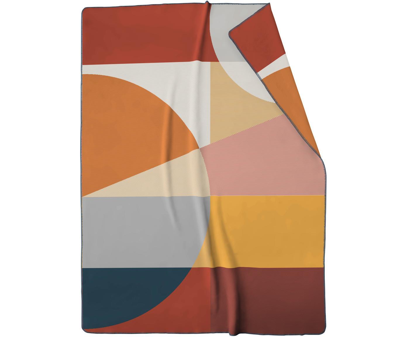 Plaid Pano mit  geometrischem Muster, 50% Baumwolle, 43% Polyacryl, 7%Polyester, Mehrfarbig, 150 x 200 cm