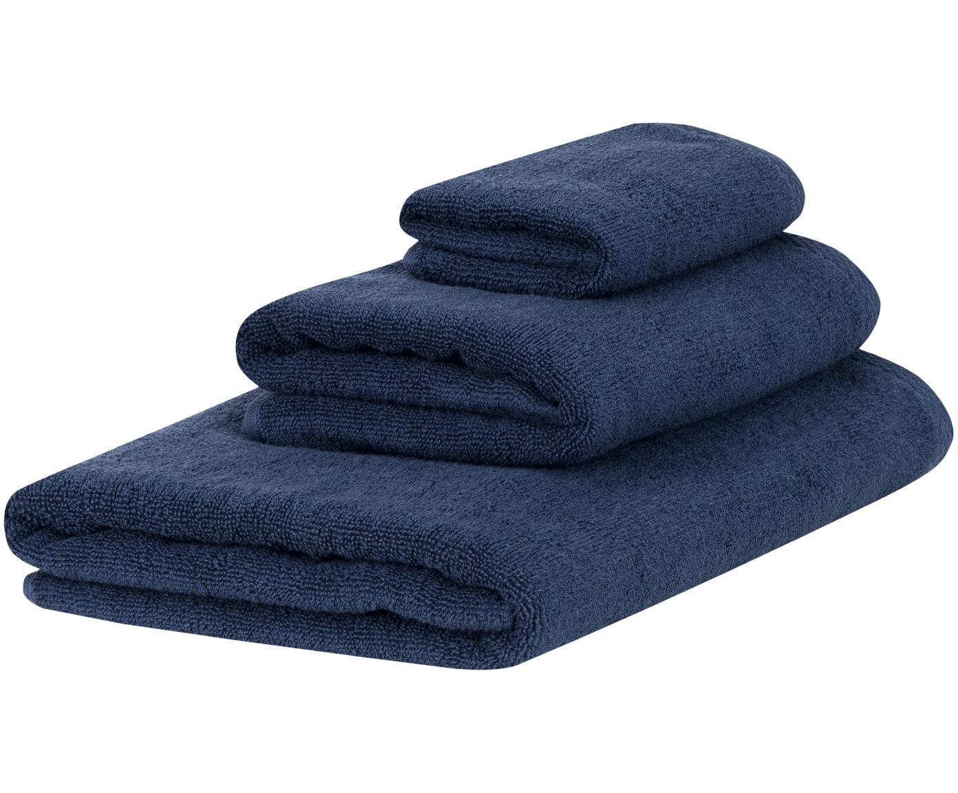 Set 3 asciugamani Comfort, Blu scuro, Diverse dimensioni