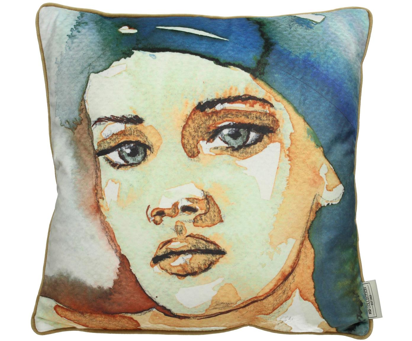 Samt-Kissen Girl mit Aquarell Print, mit Inlett, 100% Samt, Blau,Beige, 45 x 45 cm