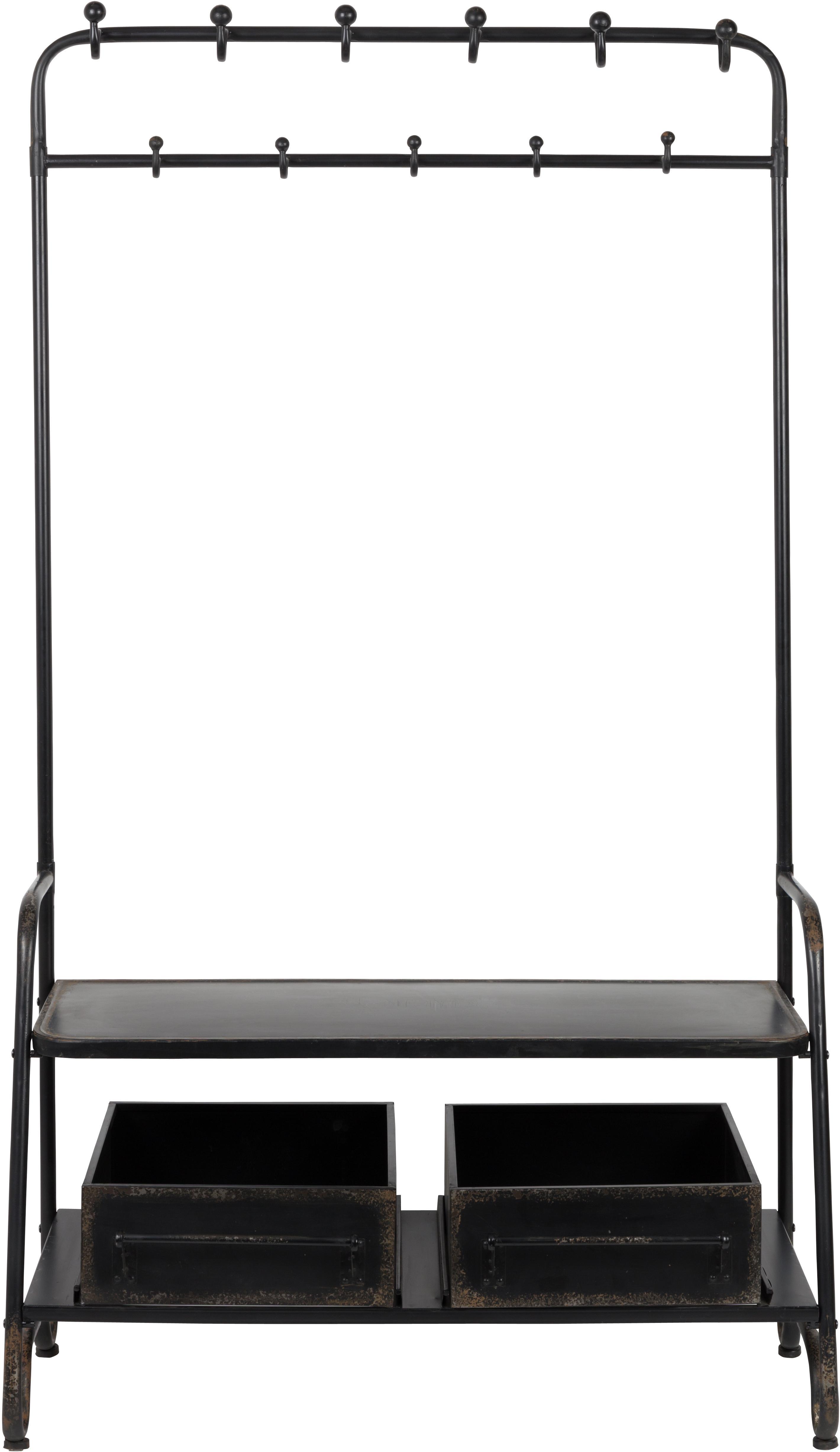 Garderoberek Lucius, Gepoedercoat metaal, Zwart, met bewust aangebrachte gebruikssporen, 104 x 182 cm