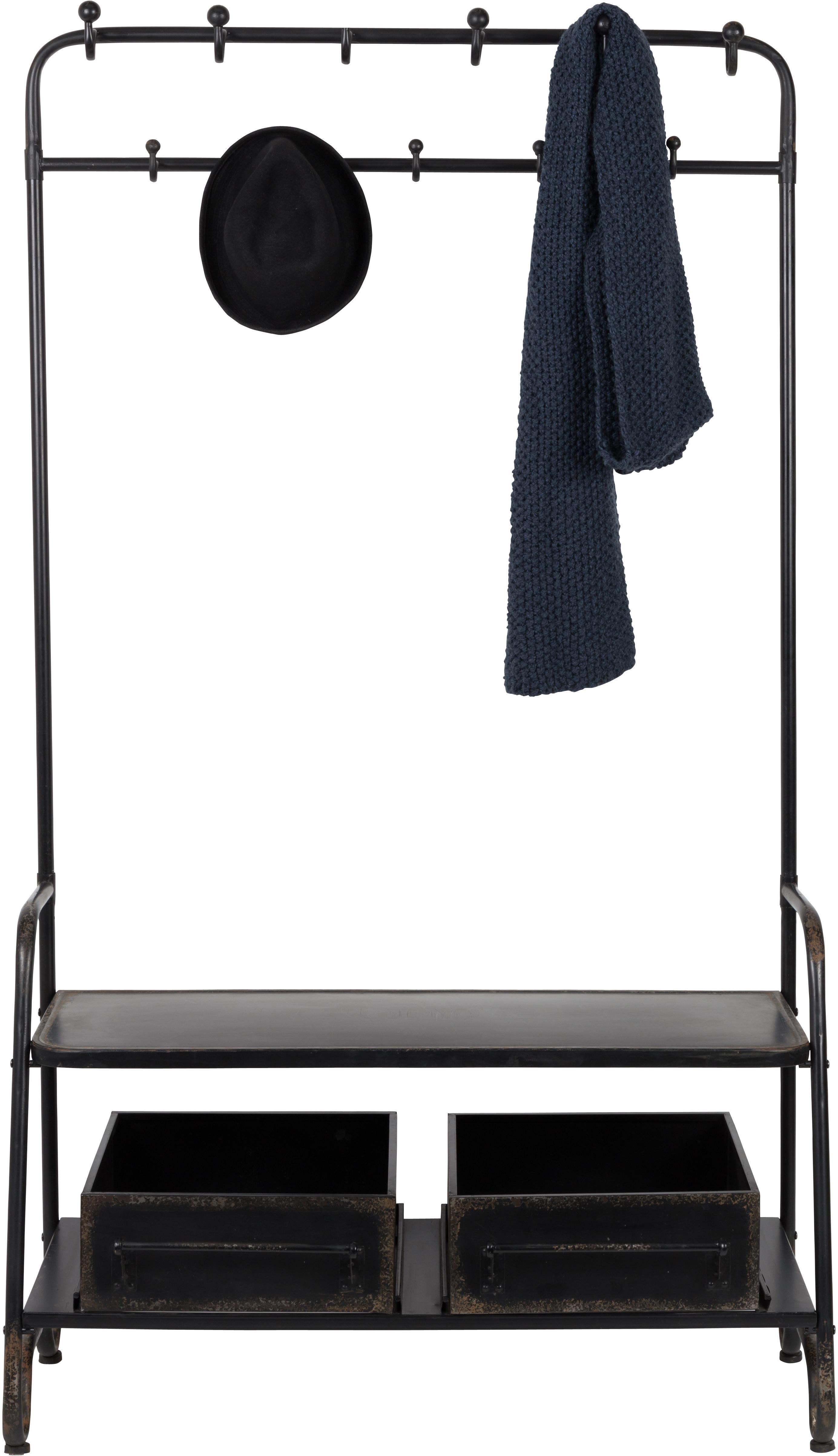 Moderne Garderobe Lucius, Metall, pulverbeschichtet, Schwarz, mit gewollten Gebrauchsspuren, 104 x 182 cm