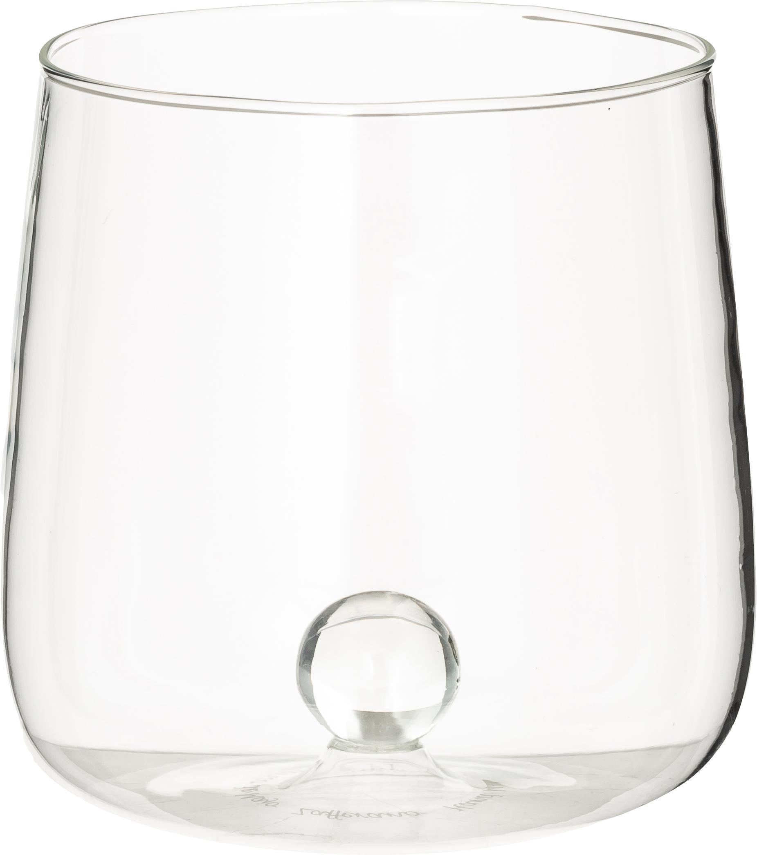 Mundgeblasene Design-Wassergläser Bilia, 6er-Set, Borosilikatglas, Transparent, Ø 9 x H 9 cm