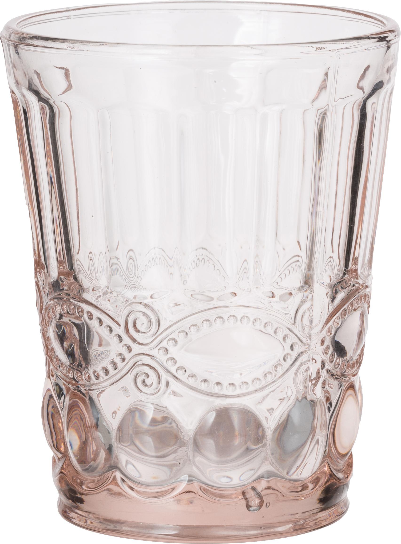 Waterglazen Solange, 6 stuks, Glas, Transparant, roze, 265 ml