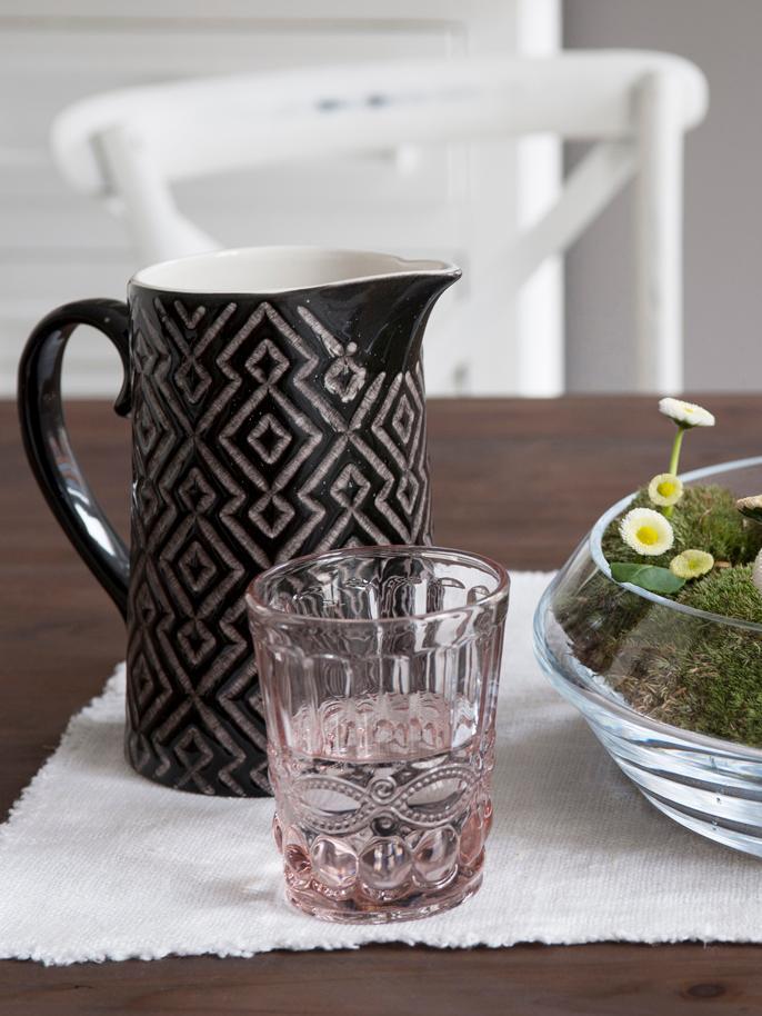Verres à eau avec embossages décoratifs Solange, 6pièces, Transparent, rose
