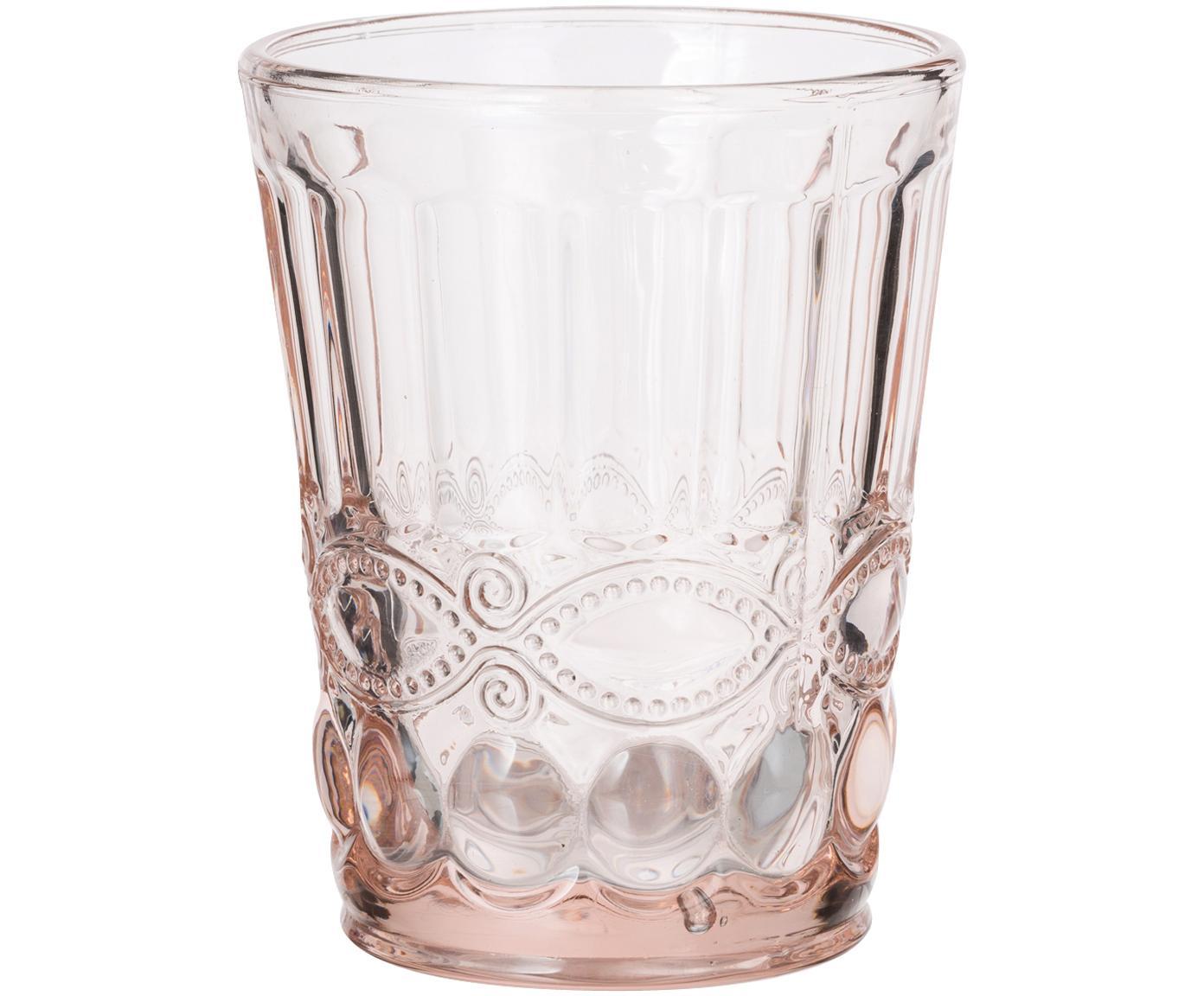Bicchiere acqua con motivo a rilievo 6 pz, Vetro, Trasparente, rosa, 265 ml