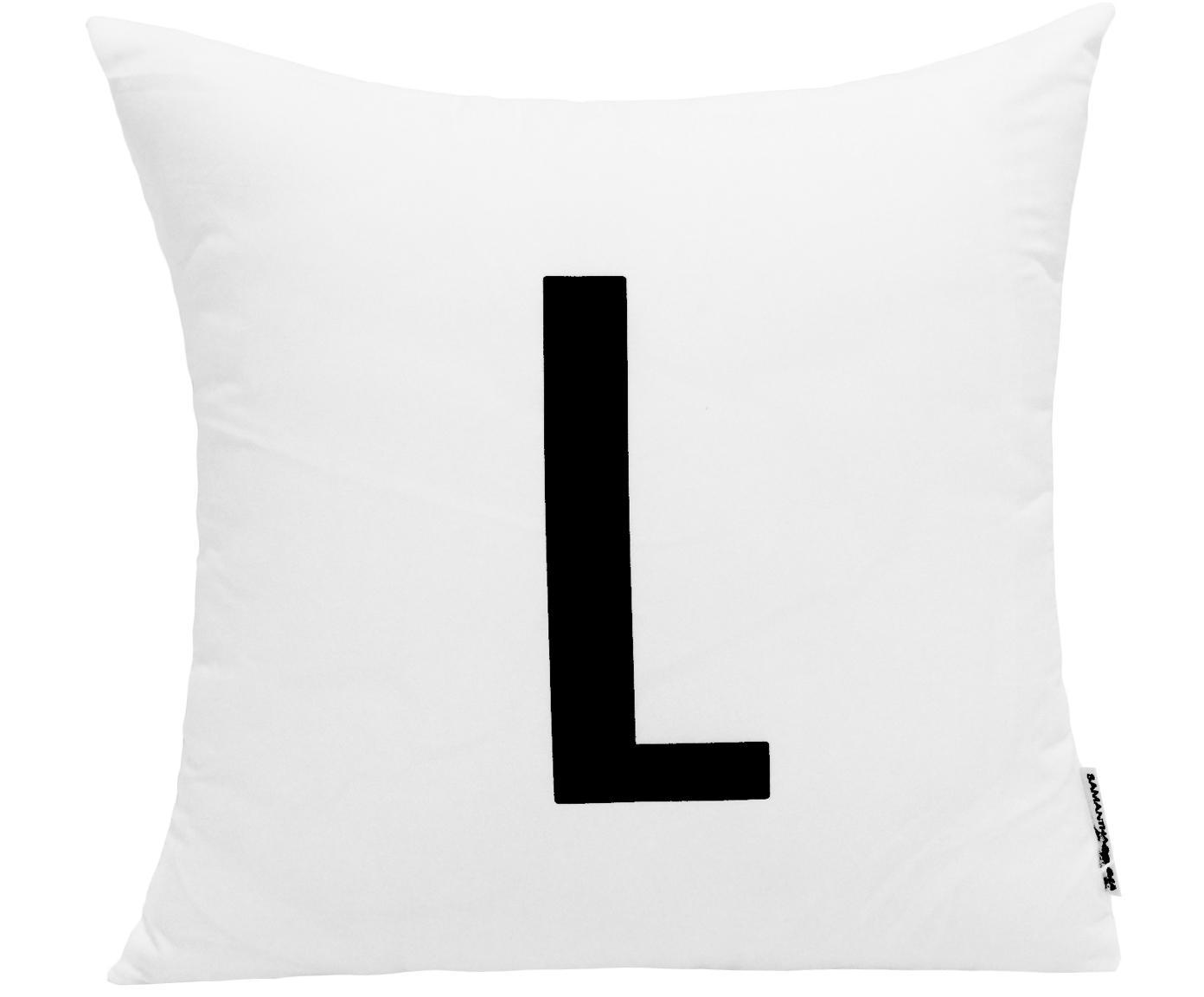 Funda de cojín Alphabet (variantes de A a Z), 100%poliéster, Negro, blanco, Variante L