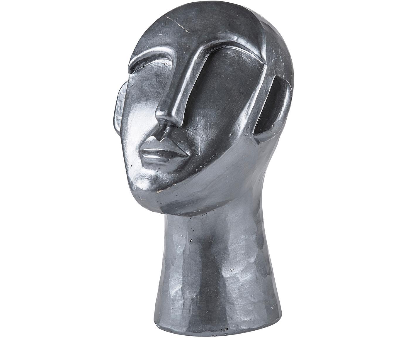 Figura decorativa Head, Cemento, Plateado, An 18 x F 17 cm