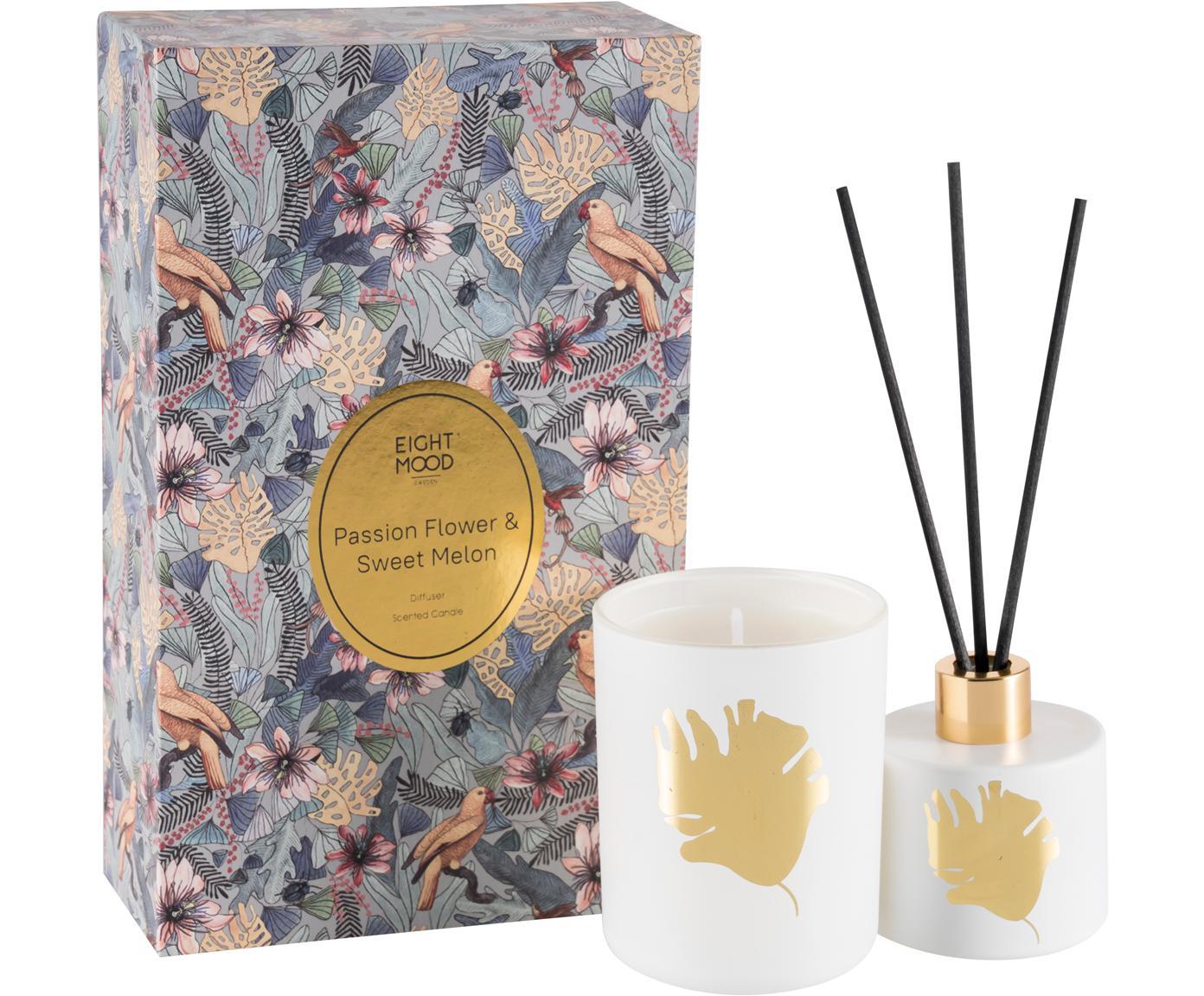 Ambientador & vela perfumada Luciana (limón, naranja y melón dulce), 2pzas., Caja: papel, Recipiente: cristal, Multicolor, An 12 x Al 20 cm