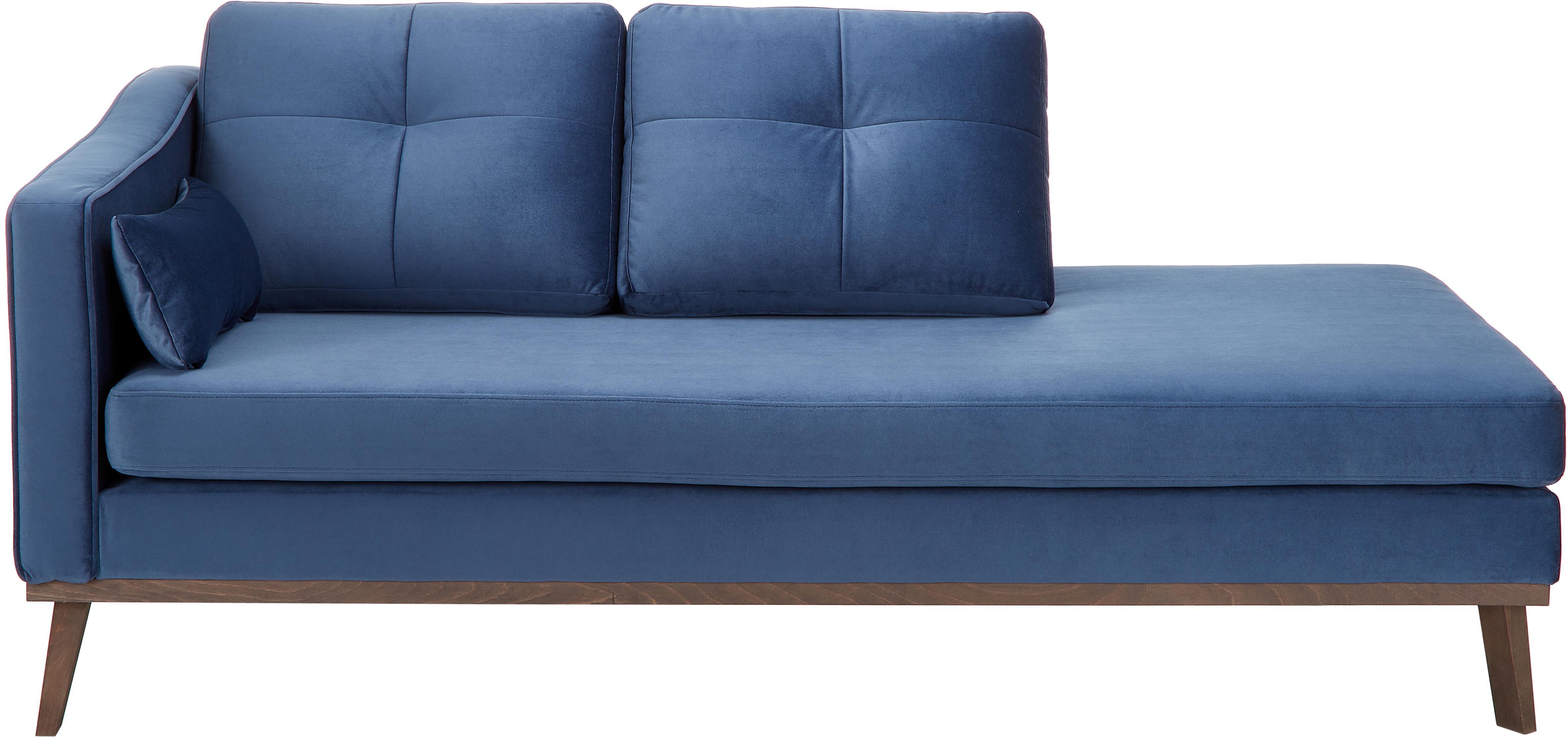 Fluwelen chaise longue Alva, Bekleding: fluweel (hoogwaardig poly, Frame: massief grenenhout, Poten: massief beukenhout gebeit, Fluweel donkerblauw, B 193 x D 94 cm