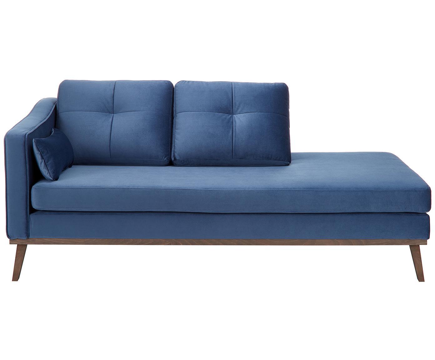 Fluwelen chaise longue Alva, Bekleding: fluweel (hoogwaardig poly, Frame: massief grenenhout, Poten: massief beukenhout gebeit, Marineblauw, B 193 x D 94 cm