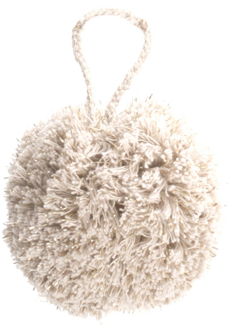 Adornos navideños Pompon, 2uds., Algodón con hilo de lurex, Blanco, dorado, Ø 8 x Al 14 cm