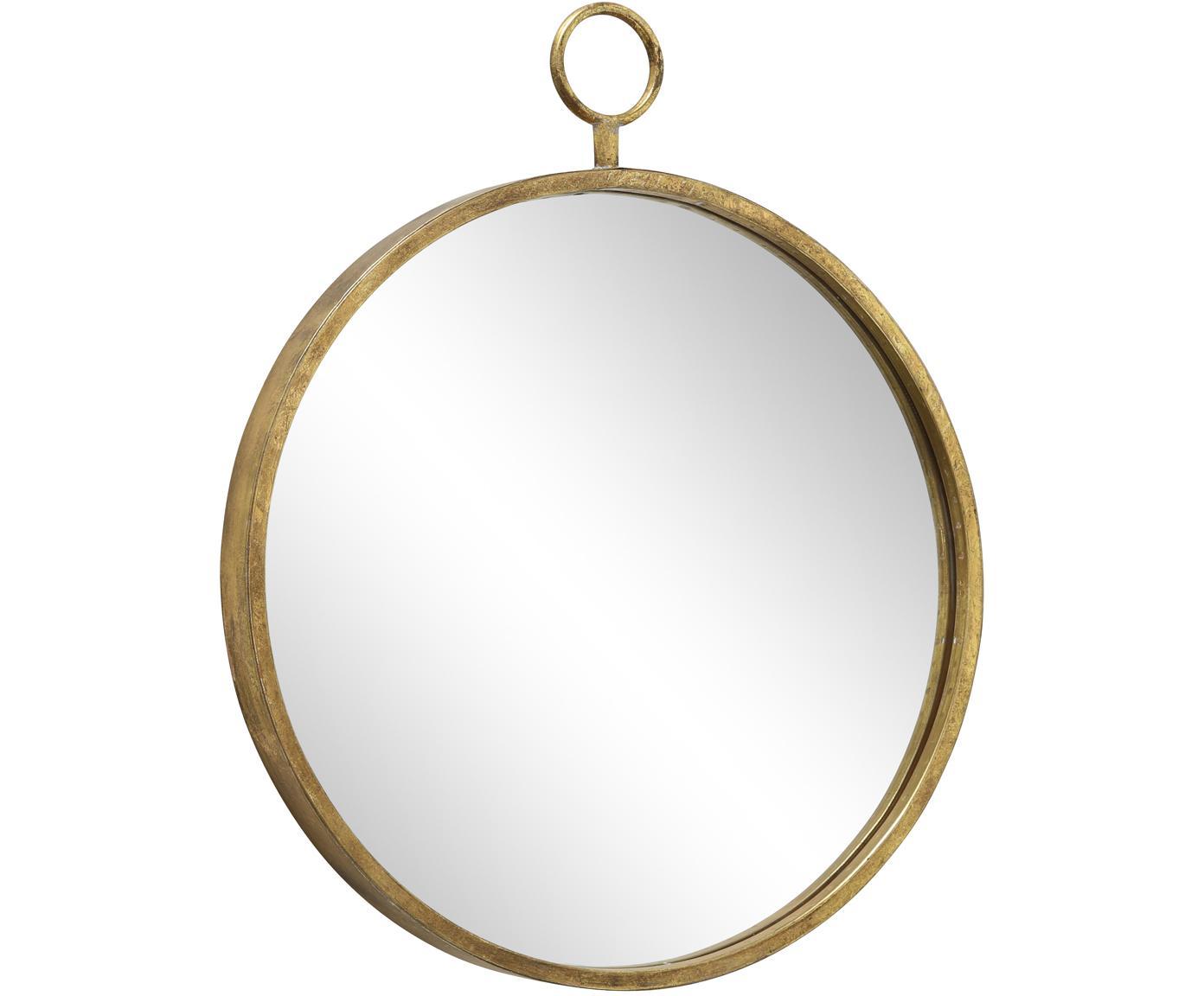 Okrągłe lustro ścienne Prado, Metal, szkło lustrzane, Odcienie mosiądzu, S 55 x W 66 cm