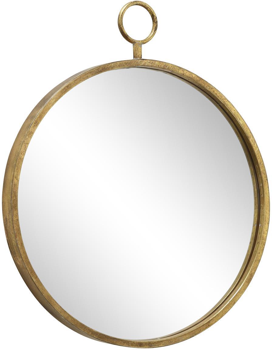Okrągłe lustro ścienne z metalową ramą Prado, Metal, szkło lustrzane, Odcienie mosiądzu, S 55 x W 66 cm