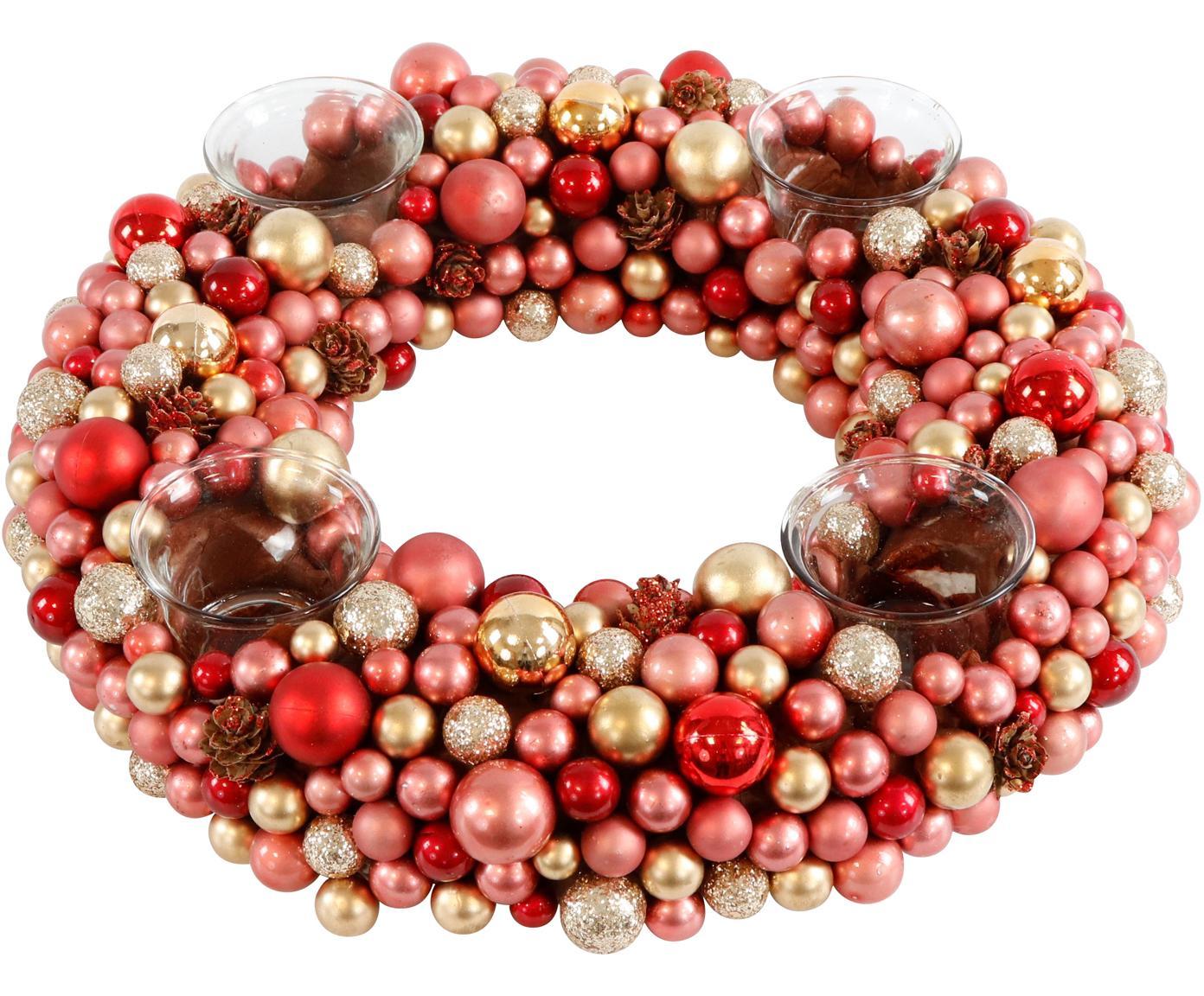 Adventskranz Festivity, Kunststoff, Styropor, Rot, Goldfarben, Ø 33 x H 8 cm