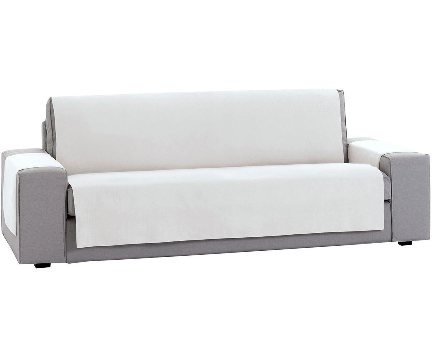 Funda de sofá Levante, 50%algodón, 50%poliéster, Blanco, 2 plazas (115 x 220cm)